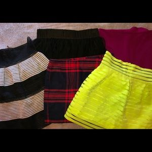 5 skirts from BEBE , H&M , Express & SanJoy